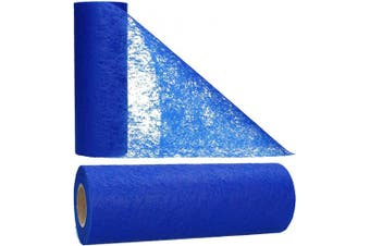 (Blue) - AmaCasa Table runner non-woven table ribbon flower decoration wedding communion 23cm / 20m roll (Blue)