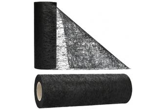 (Black) - AmaCasa Table runner non-woven table ribbon flower decoration wedding communion 23cm / 20m roll (Black)