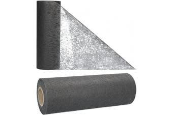 (Grey) - AmaCasa Table runner non-woven table ribbon flower decoration wedding communion 23cm / 20m roll (Grey)