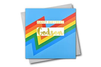 Happy Birthday Godson, Blue Colour Bolts, Greeting Card with Text Foiled in Shiny Gold