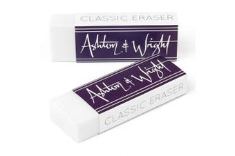 Ashton and Wright - Classic Eraser - Latex Free Plastic Rubber - Pack of 2 White