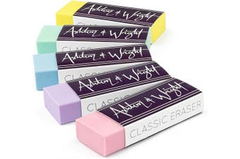 Ashton and Wright - Classic Eraser - Latex Free Plastic Rubber - Pack of 5 Pastel