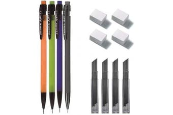 (0.5mm SET) - 4 x 0.5 mm Mechanical Pencil + 48 Lead Refills + 4 x Erasers