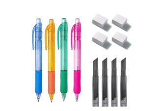 (0.7mm SET) - 4 x 0.7 mm Mechanical Pencil + 48 Lead Refills + 4 x Erasers