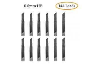 (0.5mm) - 144 x 0.5mm Lead Refills | HB | 12 Tubes containing 12 leads each (12 x 12 = 144) | Mechanical Pencil Refill Replacement Spare Leads | 6cm long | 0.5mm thick (0.5mm)