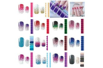 (color01) - Nail Stickers,14 Sheets Nail Polish Stickers Strips Pure colour Shine Full Wraps Nail Art Adhesive Decals,Nail Art Designs for Women Girls