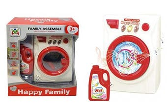 Koolbitz Pretend Play Mini Washing Machine Battery Operated Toy Washer with Sounds and Functions, Pretend Role Play Appliance Toys
