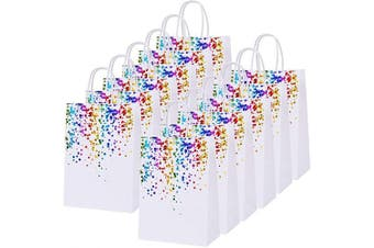 (Style B) - Cooraby 20 Pieces Bronzing Multicoloured Paper Bags Kraft Party Bag Birthday Bag Bride Hen Party Bags with Handle for Parties Celebrations