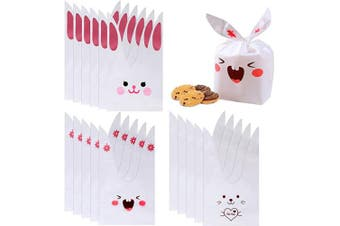 nuoshen Rabbit Ears Gift Bags, 150 Pcs Bunny Shape Treat Bags Easter Sweet Bags Candy Bags Biscuit Packaging Bag for Storage Party Gift (3 Styles)