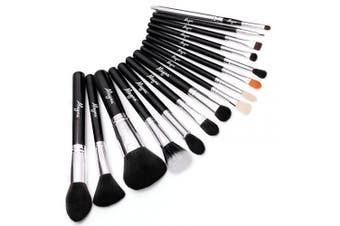 Alayna professional makeup brush kit- 15 brushes. Soft bristles. Makeup brushes for powder, contour, blush, concealer, eye shadow, eye contour, brow, lip and more.