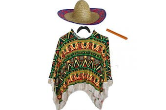 (One Size Adults) - Adults Mens Mexican Fancy Dress Costume (Poncho, Moustache, Cigar & Sombrero) (One Size Adults)