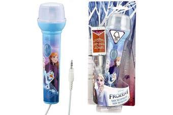EKids FR-V068v2 Disney Frozen 2 Magical Microphone and MP3 Input LED Flashing Lights Sing-Along, Blue