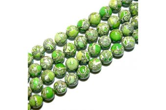 "(Multi-Green) - favoramulet Green Sea Sediment Jasper 8mm Loose Round Stone Bead for Jewellery Making DIY Craft 15"" Strand"