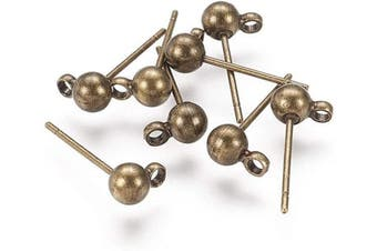 (16x5mm, Antique Bronze) - Craftdady 100Pcs Antique Bronze Round Ball Post Stud Earrings 16x5mm Nickel Free Brass Ear Pins with 1mm Loop for Jewellery Making
