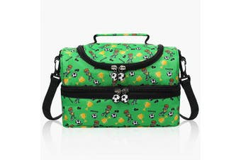 (Green) - Anpro 7L Lunch Bag for Kids,Insulated Lunch Bag Children Double Decker with Detachable Strap 25 * 17 * 16.5cm Green Football