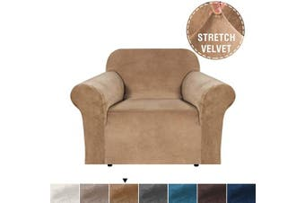 (1 Seater, Luggage) - Velvet Plush Stretch Chair Slipcovers Sofa Covers 1 Piece Furniture Protector Rich Modern Real Soft Velvet Spandex Sofa Cover Chair Covers for Living Room (Chair-1 Seater, Luggage)