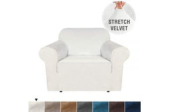 (1 Seater, Ivory) - Skid Resistance Sofa Cover Furniture Protector Modern Thick Velvet Plush Slipcover Couch Covers, Fitted Sofa Protector Stretch Sofa Slipcovers Machine Washable/Skid Resistance-Ivory, 1 Seater