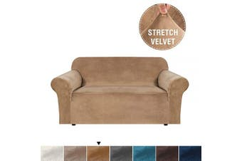 (2 Seater, Luggage) - Real Velvet Sofa Slipcover High Stretch Rich Velvet Plush 1-Piece Sofa Cover/Loveseat Furniture Cover/Slipcover, Machine Washable, Upgraded Version Couch Cover, 2 Seater, Luggage
