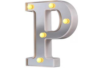 (Silver-p) - LED Marquee Letter Lights, 26 Alphabet Light Up Letters Sign Perfect for Night Light Wedding Birthday Party Christmas Lamp Home Bar Decoration (Silver,P)