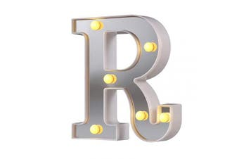 (Silver-r) - LED Marquee Letter Lights, 26 Alphabet Light Up Letters Sign Perfect for Night Light Wedding Birthday Party Christmas Lamp Home Bar Decoration (Silver,R)