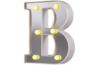 (Silver-b) - LED Marquee Letter Lights, 26 Alphabet Light Up Letters Sign Perfect for Night Light Wedding Birthday Party Christmas Lamp Home Bar Decoration (Silver,B)