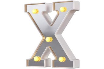 (Silver-x) - LED Marquee Letter Lights, 26 Alphabet Light Up Letters Sign Perfect for Night Light Wedding Birthday Party Christmas Lamp Home Bar Decoration (Silver,X)
