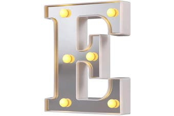 (Silver-e) - LED Marquee Letter Lights, 26 Alphabet Light Up Letters Sign Perfect for Night Light Wedding Birthday Party Christmas Lamp Home Bar Decoration (Silver,E)