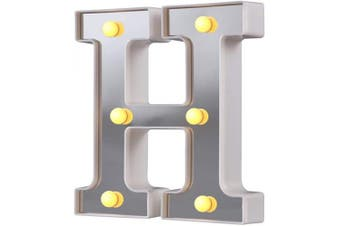 (Silver-h) - LED Marquee Letter Lights, 26 Alphabet Light Up Letters Sign Perfect for Night Light Wedding Birthday Party Christmas Lamp Home Bar Decoration (Silver,H)