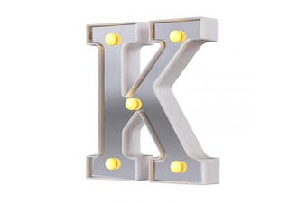 (Silver-k) - LED Marquee Letter Lights, 26 Alphabet Light Up Letters Sign Perfect for Night Light Wedding Birthday Party Christmas Lamp Home Bar Decoration (Silver,K)