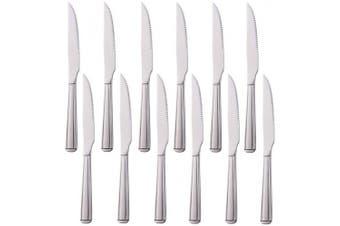 (Silver, 12 Steak Knives) - Buyer Star 12 Piece Steak Knives, 18/0 Stainless Steel Tableware, Silver Mirror Polished Cutlery Set
