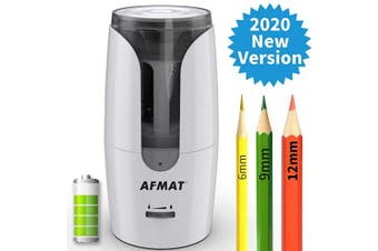 (White) - Large Pencil Sharpener, AFMAT Electric Pencil Sharpener, for 6-12mm Coloured Pencils, Jumbo Pencils, Rechargeable Pencil Sharpener,Heavy Duty,Auto Stop, Portable Pencil Sharpener for Kids,Artists-White