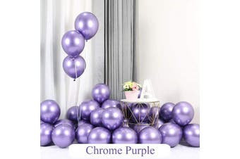 (Purple) - Chrome Purple Balloons 30cm 50pcs Latex Balloons Metallic Party Balloons Birthday Helium Balloons