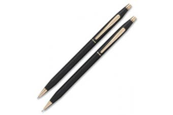 (black) - A.T. Cross 250105 Classic Century Ballpoint Pen and Pencil Set Black/23 Kt. Gold Accents