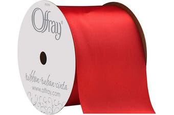 (5.7cm  x 2.7m) - Berwick Offray 360125 3.8cm Wide Single Face Satin Ribbon, Red, 3 Yds
