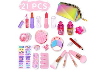 ARANEE 21PCS Kids Make Up Set for Girls, Washable Play Makeup Toy Kit with Glitter Cosmetic Bag