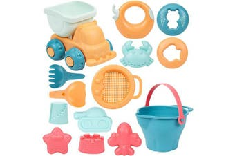 beiens 14Pcs Beach Toys Set for Kids, Summer Fun Learning & Education Toys for Toddlers, Bucket Castle Moulds Soft Plastic Pool Toy Set