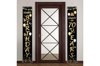 (70th Birthday) - 2 Pieces 70th Birthday Party Decorations Cheers to 70 Years Banner 70th Party Decorations Welcome Porch Sign for 70 Years Birthday Supplies (70th Birthday)