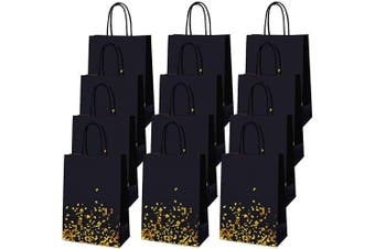 (Style A) - Cooraby 30 Pieces Bronzing Gold Black Paper Kraft Paper Bag Party Bags Gold Bags Birthday Bride Gift Hen Party Bags with Handle for Party Favours