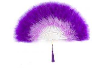 (Y-purple) - ArtiDeco 1920s Marabou Feather Fan Flapper Folding Hand Fans Feather Fan Handheld for 20s Vintage Gatsby Party (Y-Purple)