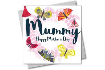 Tassel Embellished Mother's Day Greeting Card, Mummy, Butterfly Wreath, Mummy, Happy Mother's Day