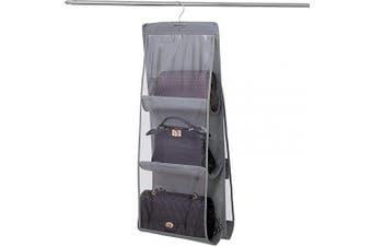 Limeo Wardrobe Clear Purse Handbags Storage Storage Handbag Wardrobe Organiser Bags Closet Closet Organiser Foldable for Bags, Clear, for Hanging in the Wardrobe, Saving Space, Grey