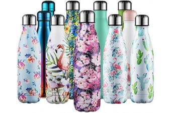 (Flower Rose, 500ml) - CMXING Stainless Steel Vacuum Insulated Water Bottle Reusable Double Walled Drinks Bottle Flask Standard Mouth-12 Hours Hot & 24 Hours Cold - 500ml & 750ml-Non-Toxic BPA Free