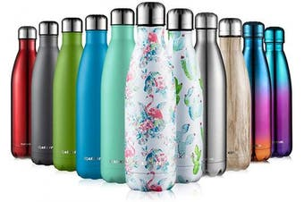 (Multicolor, 500ml) - CMXING Stainless Steel Vacuum Insulated Water Bottle Reusable Double Walled Drinks Bottle Flask Standard Mouth-12 Hours Hot & 24 Hours Cold - 500ml & 750ml-Non-Toxic BPA Free