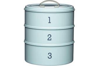 (Vintage Blue) - KitchenCraft Living Nostalgia 3-Tier Metal Cake Storage Tin, 22 x 27 cm (8.5 x 10.5 Inches) - Vintage Blue