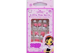 (TYPE27) - Kids False Nails for Girls 24pcs Press on Kids Fake Naile Cute Teenage Cartoon Animal Design Acrylic Artificial False Nail Tips With 1 Pack (TYPE27)