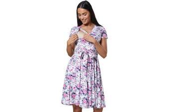 (12, White Pink Flowers) - HAPPY MAMA. Women's Maternity Midi Skater Dress Nursing Access Short Sleeve.598p