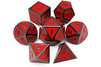 (Black Red(inferno)) - Haxtec Metal Dice Set D & D Polyhedral DND Dice for Dungeons and Dragons RPG Table Games- Enamel Black Red DND Dice