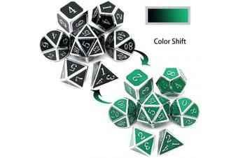 (Heat Sensitive-silver Black Green) - Haxtec Temparature Metal DND Dice Set Colour Changing RPG Polyhedral Dice-Silver Black Green Shift