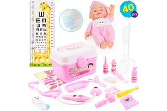 THE TWIDDLERS 40 PCS Doctors Medical Play Set in Pink with Baby Doll - 40 Accessories Includes Doll & Carry Case - Doctor Play Set for kids & Equipment Doctors Dress up for Kids