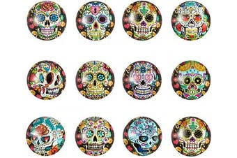 (Skull#12mm#20pcs) - Beadthoven 12mm 20pcs Mixed Colour Skull Print Flatback Half Round Dome Glass Gem Cover Cabochon for Jewellery Finding Cameo Pendent Doll Making Circle Bezel Tray Setting